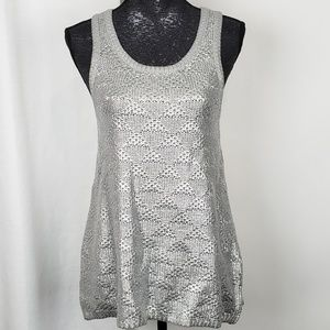 Moth Anthropologie Metallic Knitted Tank Small